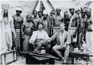 British explorers(John Hanning Speke and James Grant) in the last century in Africa with their porters in 1800's
